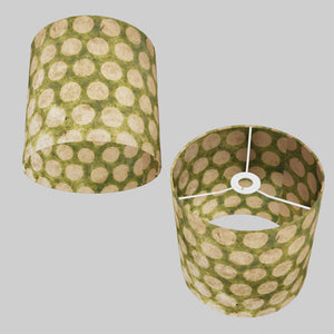 Drum Lamp Shade - P87 ~ Batik Dots on Green, 25cm x 25cm