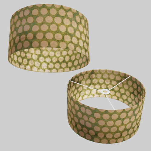 Drum Lamp Shade - P87 ~ Batik Dots on Green, 40cm(d) x 20cm(h)