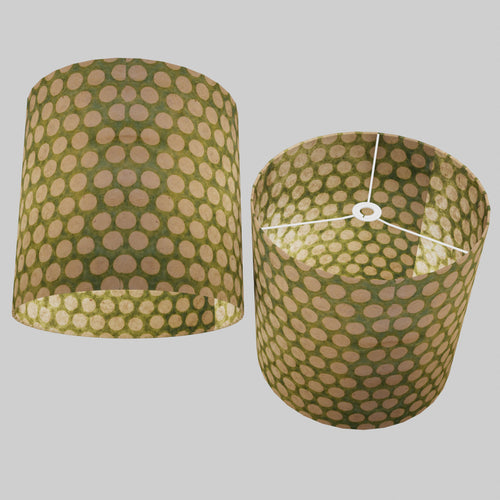 Drum Lamp Shade - P87 ~ Batik Dots on Green, 40cm(d) x 40cm(h)