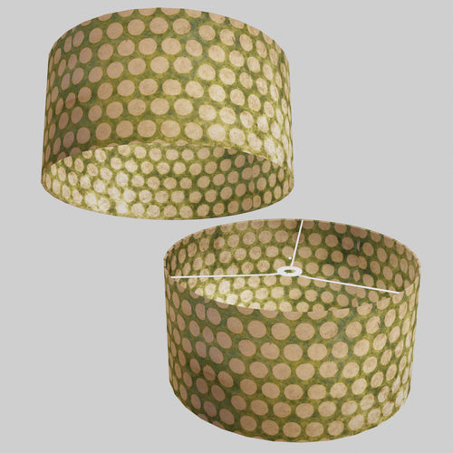 Drum Lamp Shade - P87 ~ Batik Dots on Green, 50cm(d) x 25cm(h)