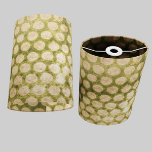 Oval Lamp Shade - P87 ~ Batik Dots on Green, 20cm(w) x 30cm(h) x 13cm(d)