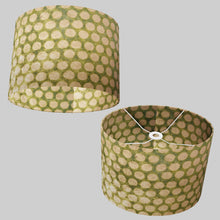 Oval Lamp Shade - P87 ~ Batik Dots on Green, 40cm(w) x 30cm(h) x 30cm(d)