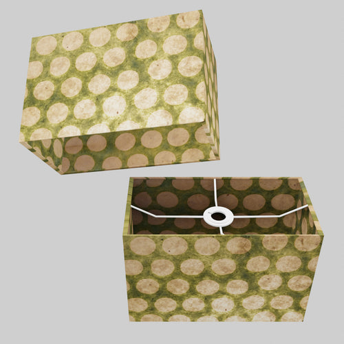 Rectangle Lamp Shade - P87 ~ Batik Dots on Green, 30cm(w) x 20cm(h) x 15cm(d)