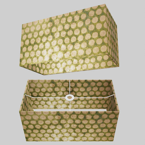 Rectangle Lamp Shade - P87 ~ Batik Dots on Green, 50cm(w) x 25cm(h) x 25cm(d)