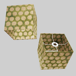 Square Lamp Shade - P87 ~ Batik Dots on Green, 20cm(w) x 20cm(h) x 20cm(d)