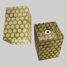 Square Lamp Shade - P87 ~ Batik Dots on Green, 20cm(w) x 30cm(h) x 20cm(d)
