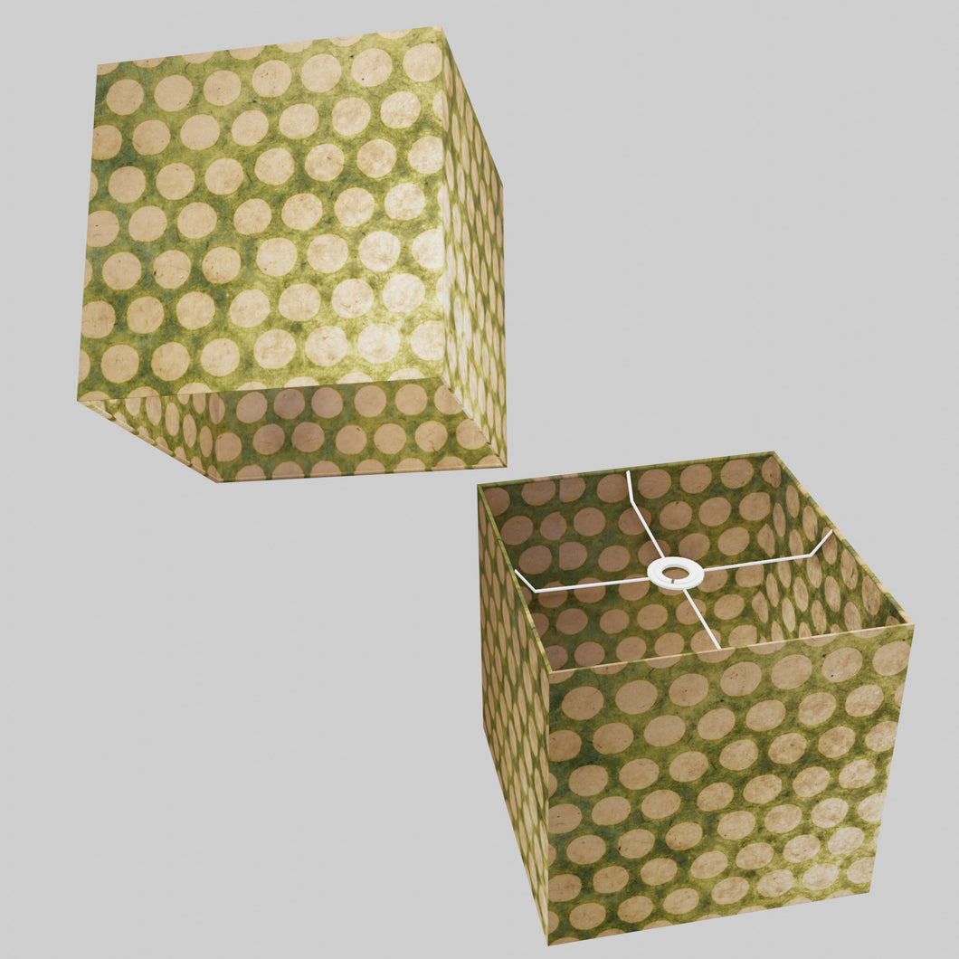 Square Lamp Shade - P87 ~ Batik Dots on Green, 30cm(w) x 30cm(h) x 30cm(d)