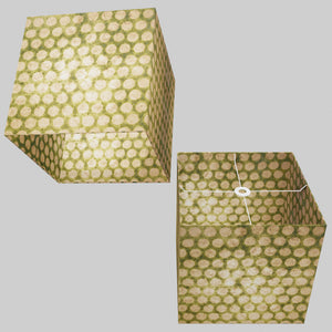 Square Lamp Shade - P87 ~ Batik Dots on Green, 40cm(w) x 40cm(h) x 40cm(d)