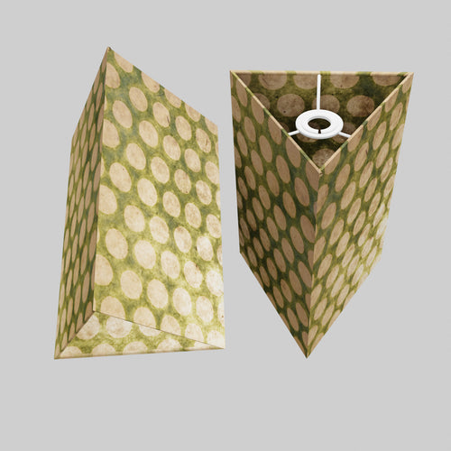 Triangle Lamp Shade - P87 ~ Batik Dots on Green, 20cm(w) x 30cm(h)