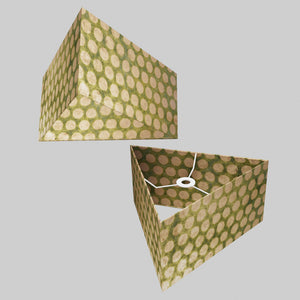 Triangle Lamp Shade - P87 ~ Batik Dots on Green, 40cm(w) x 20cm(h)