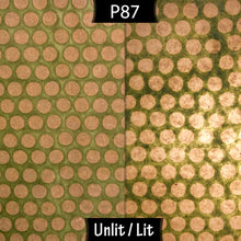 3 Panel Floor Lamp - P87 ~ Batik Dots on Green, 20cm(d) x 1.4m(h)