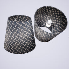 Conical Lamp Shade P88 ~ Batik Tread Plate Grey, 23cm(top) x 35cm(bottom) x 31cm(height)