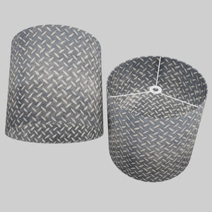 Drum Lamp Shade - P88 ~ Batik Tread Plate Grey, 40cm(d) x 40cm(h)