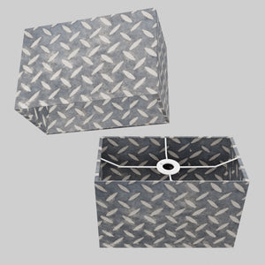 Rectangle Lamp Shade - P88 ~ Batik Tread Plate Grey, 30cm(w) x 20cm(h) x 15cm(d)
