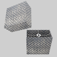 Rectangle Lamp Shade - P88 ~ Batik Tread Plate Grey, 30cm(w) x 30cm(h) x 15cm(d)
