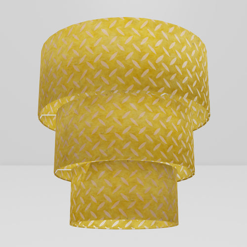 3 Tier Lamp Shade - P89 ~ Batik Tread Plate Yellow, 50cm x 20cm, 40cm x 17.5cm & 30cm x 15cm