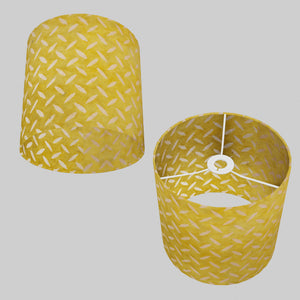Drum Lamp Shade - P89 ~ Batik Tread Plate Yellow, 25cm x 25cm