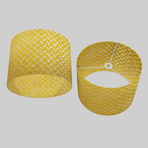 Drum Lamp Shade - P89 ~ Batik Tread Plate Yellow, 40cm(d) x 30cm(h)