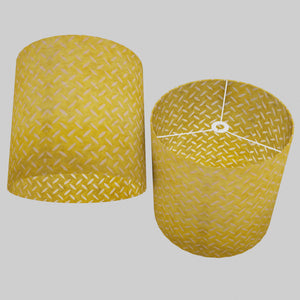 Drum Lamp Shade - P89 ~ Batik Tread Plate Yellow, 40cm(d) x 40cm(h)