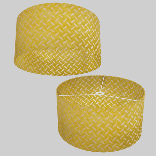 Drum Lamp Shade - P89 ~ Batik Tread Plate Yellow, 50cm(d) x 25cm(h)