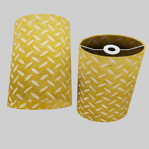 Oval Lamp Shade - P89 ~ Batik Tread Plate Yellow, 20cm(w) x 30cm(h) x 13cm(d)