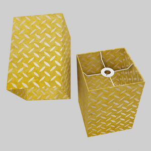 Square Lamp Shade - P89 ~ Batik Tread Plate Yellow, 20cm(w) x 30cm(h) x 20cm(d)