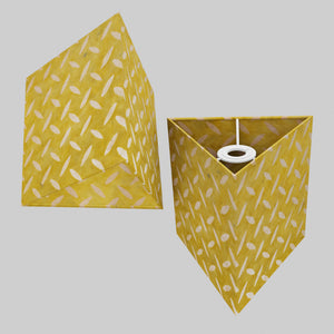 Triangle Lamp Shade - P89 ~ Batik Tread Plate Yellow, 20cm(w) x 20cm(h)