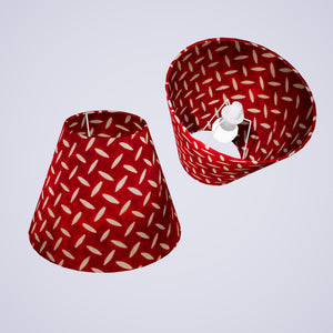 Conical Lamp Shade P90 ~ Batik Tread Plate Red, 15cm(top) x 30cm(bottom) x 22cm(height)