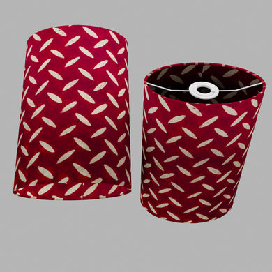 Oval Lamp Shade - P90 ~ Batik Tread Plate Red, 20cm(w) x 30cm(h) x 13cm(d)