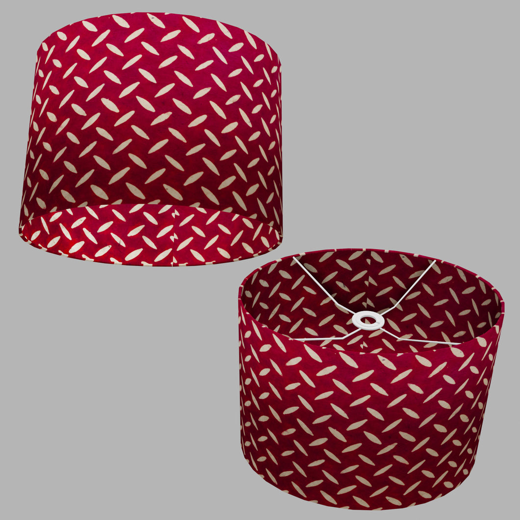 Oval Lamp Shade - P90 ~ Batik Tread Plate Red, 40cm(w) x 30cm(h) x 30cm(d)