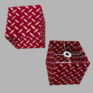 Square Lamp Shade - P90 ~ Batik Tread Plate Red, 20cm(w) x 20cm(h) x 20cm(d)