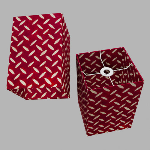 Square Lamp Shade - P90 ~ Batik Tread Plate Red, 20cm(w) x 30cm(h) x 20cm(d)