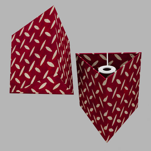 Triangle Lamp Shade - P90 ~ Batik Tread Plate Red, 20cm(w) x 20cm(h)