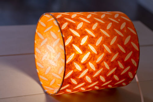 Drum Lamp Shade - P91 - Batik Tread Plate Orange, 20cm(d) x 20cm(h)