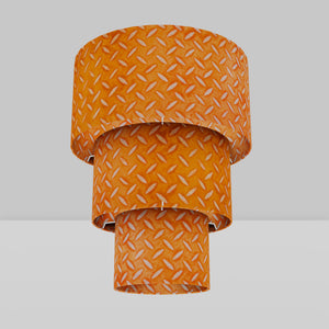 3 Tier Lamp Shade - P91 - Batik Tread Plate Orange, 40cm x 20cm, 30cm x 17.5cm & 20cm x 15cm