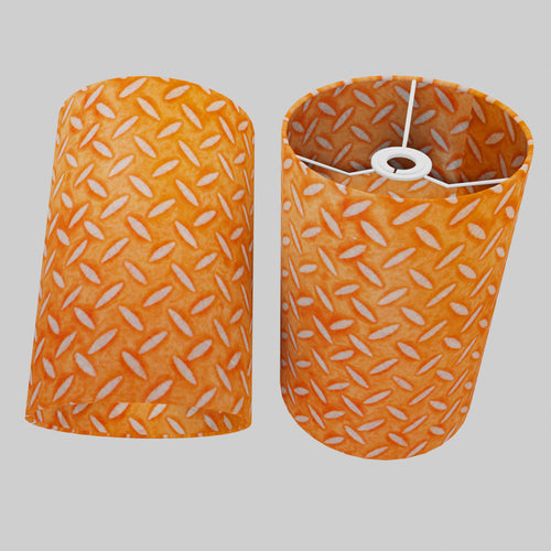 Drum Lamp Shade - P91 - Batik Tread Plate Orange, 20cm(d) x 30cm(h)