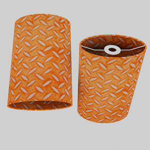 Oval Lamp Shade - P91 - Batik Tread Plate Orange, 20cm(w) x 30cm(h) x 13cm(d)