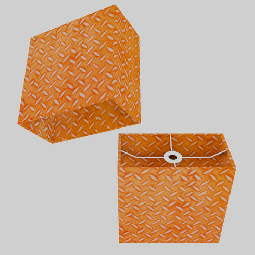 Rectangle Lamp Shade - P91 - Batik Tread Plate Orange, 30cm(w) x 30cm(h) x 15cm(d)