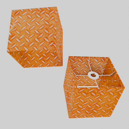 Square Lamp Shade - P91 - Batik Tread Plate Orange, 20cm(w) x 20cm(h) x 20cm(d)