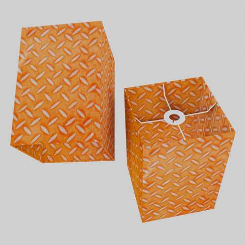 Square Lamp Shade - P91 - Batik Tread Plate Orange, 20cm(w) x 30cm(h) x 20cm(d)
