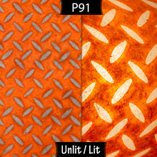 Oak Tripod Floor Lamp - P91 - Batik Tread Plate Orange