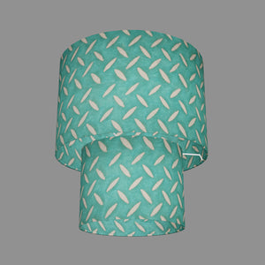 2 Tier Lamp Shade - P15 - Batik Tread Plate Mint Green, 30cm x 20cm & 20cm x 15cm