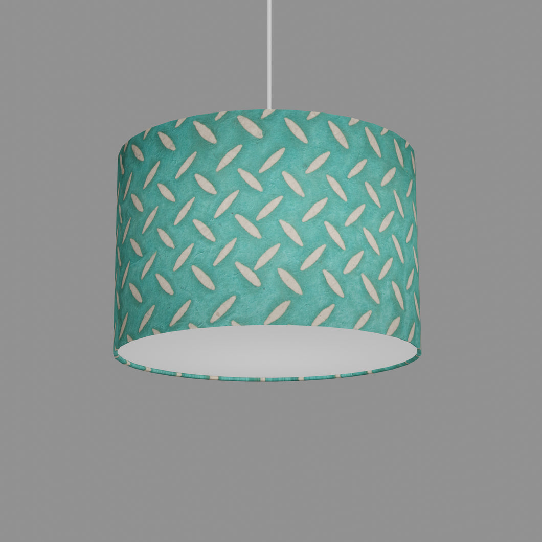 Drum Lamp Shade - P15 - Batik Tread Plate Mint Green, 30cm(d) x 20cm(h)
