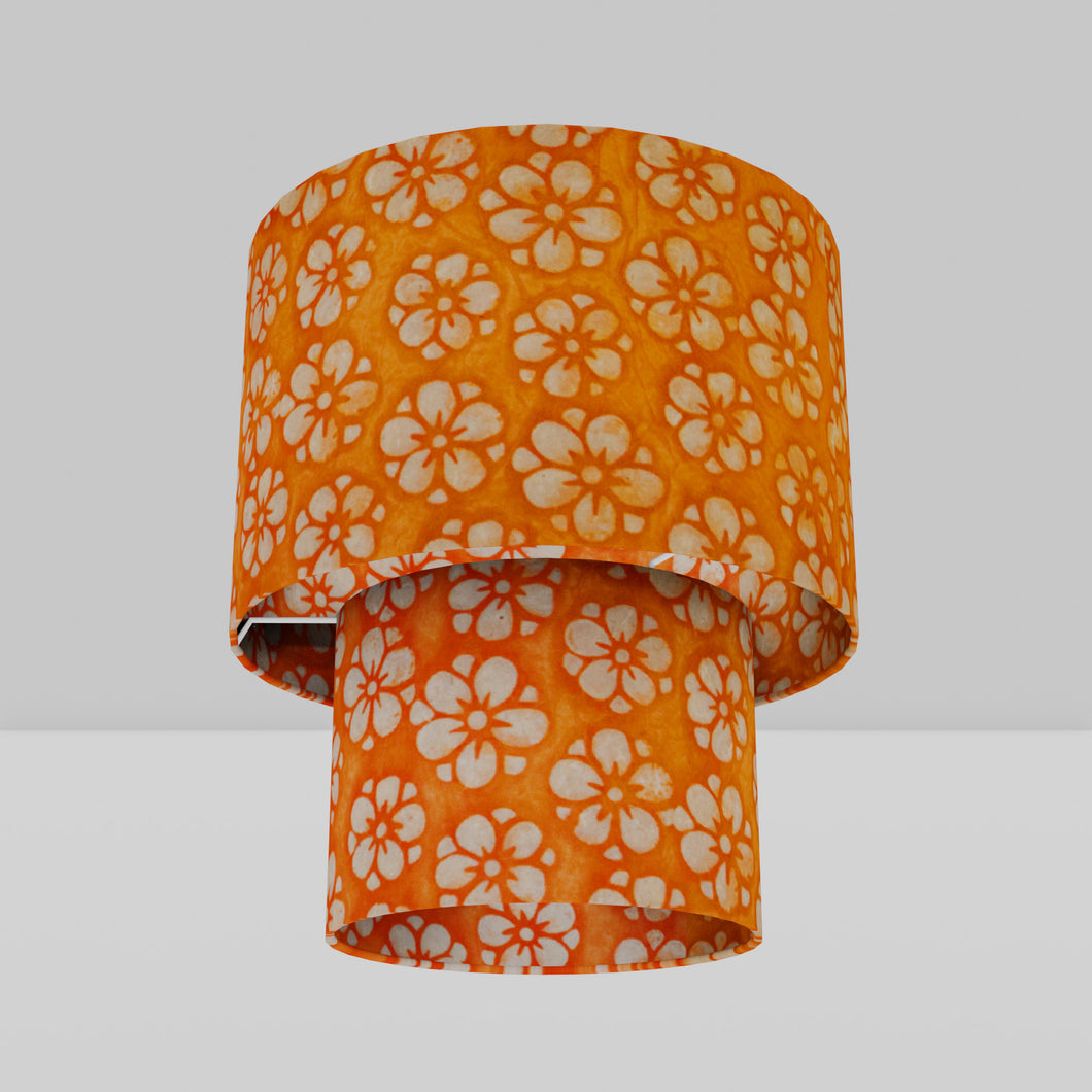 2 Tier Lamp Shade - P94 - Batik Star Flower on Orange, 30cm x 20cm & 20cm x 15cm
