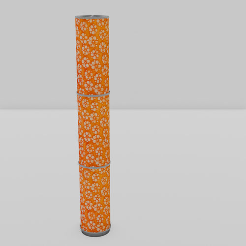 3 Panel Floor Lamp - P94 - Batik Star Flower on Orange, 20cm(d) x 1.4m(h)