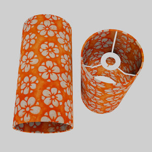 Drum Lamp Shade - P94 - Batik Star Flower on Orange, 15cm(d) x 30cm(h)