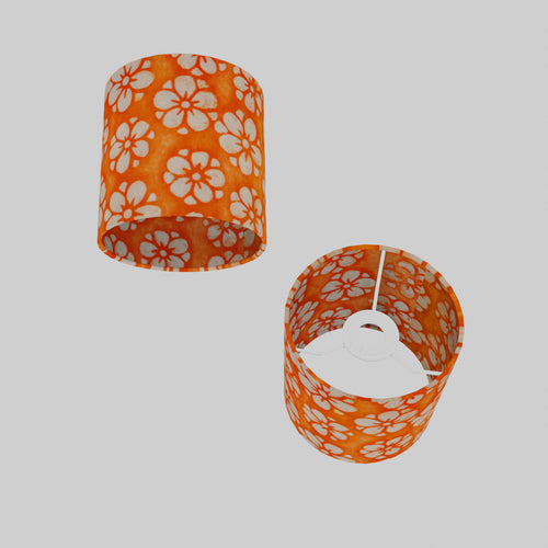 Drum Lamp Shade - P94 - Batik Star Flower on Orange, 15cm(d) x 15cm(h)