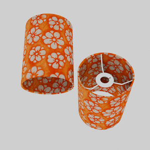 Drum Lamp Shade - P94 - Batik Star Flower on Orange, 15cm(d) x 20cm(h)