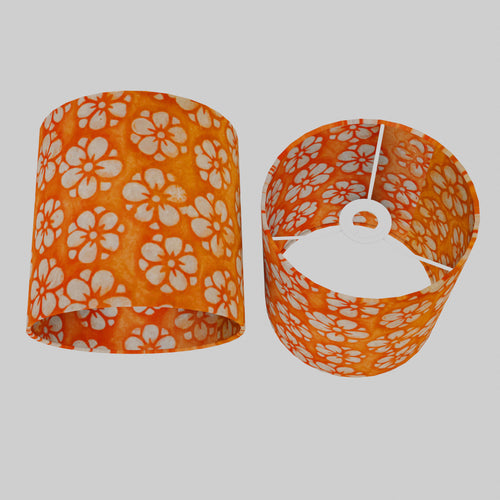 Drum Lamp Shade - P94 - Batik Star Flower on Orange, 20cm(d) x 20cm(h)