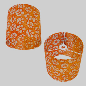 Drum Lamp Shade - P94 - Batik Star Flower on Orange, 25cm x 25cm